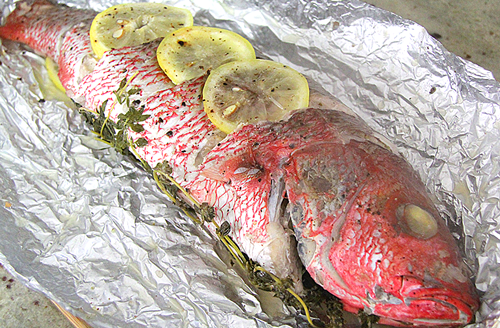 How do you cook whole red snapper