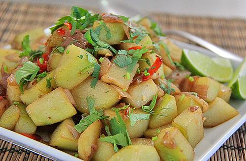 Mexican Week 2015: Chayote Squash, Onion, Fresno Chili Saute